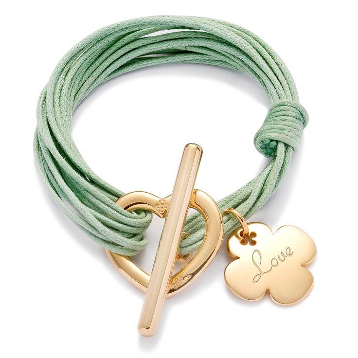 Love... and luck !  Lilou bracelet, heart buckle and cloverleaf pendant. 129$  http://lilouparis.com/en-us/ready_made_sets#1115  #lilou #heart #clover #platedgold #love #mint #string