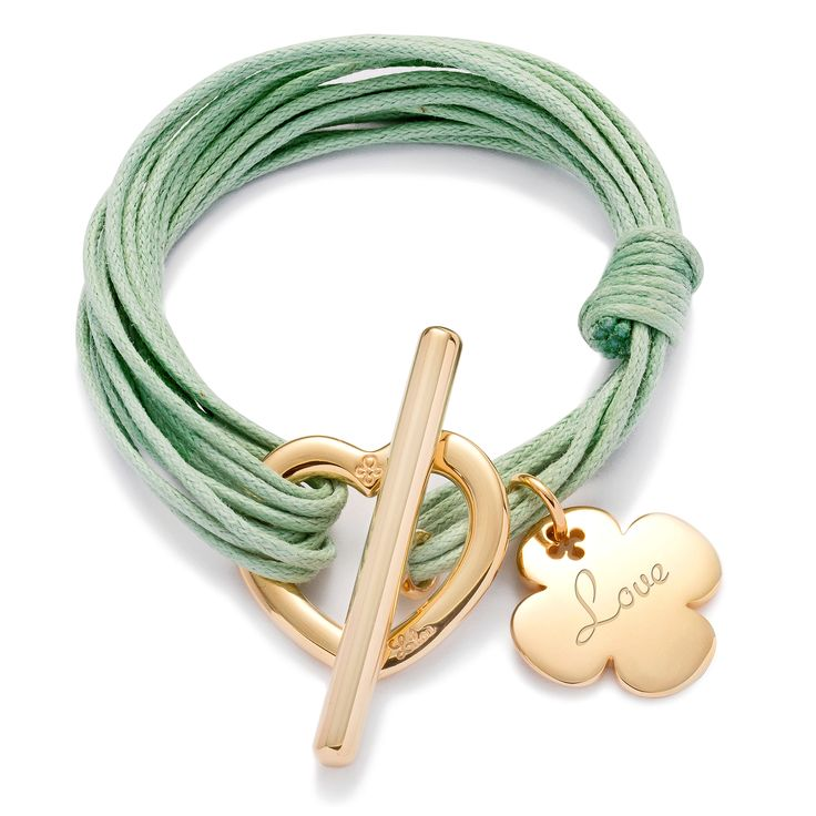 Love... and luck !  Lilou bracelet, heart buckle and cloverleaf pendant. 129$  http://lilouparis.com/en-us/ready_made_sets#1115  #lilou #heart #clover #platedgold #love #mint #string