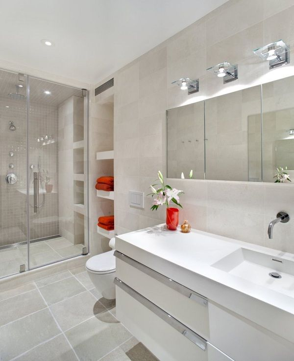White minimalist bathroom interior design