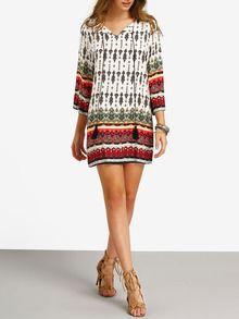 Kleid langarm mit Stammes-Druck und Schleife am Ausschnitt -mehrfarbig- German SheIn(Sheinside)