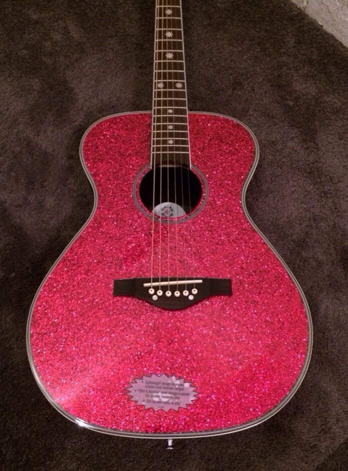 daisy rock pixie acoustic electric guitar for girls pink sparkle 14 6225 daisyrock guitars. Black Bedroom Furniture Sets. Home Design Ideas