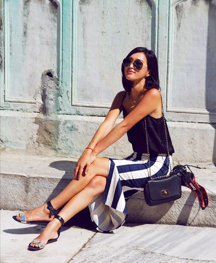 striped skirt with tank top