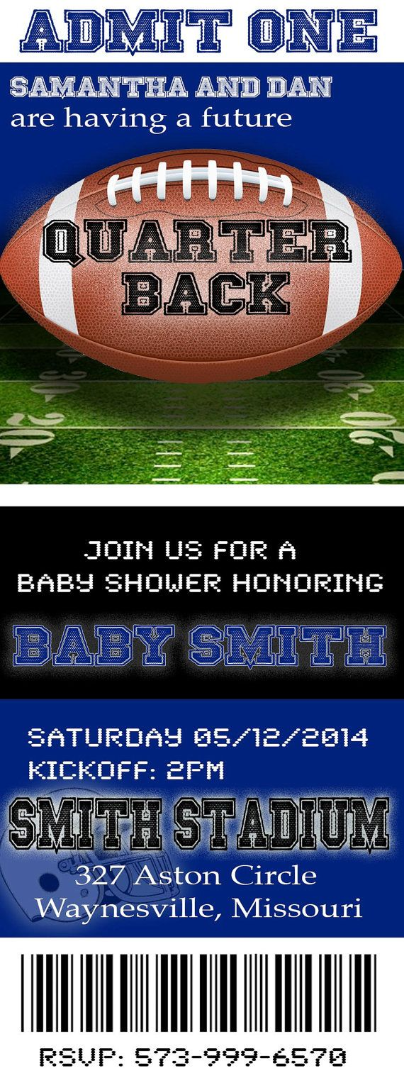 Football Baby Shower Invitation. Can be M2M your favorite team. $10