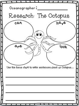 "Ocean ""Research"" w/ Ocean Animals ""Research"" Writing w/ Literacy and Math activities for centers! Freebie in the Download Preview :o)"