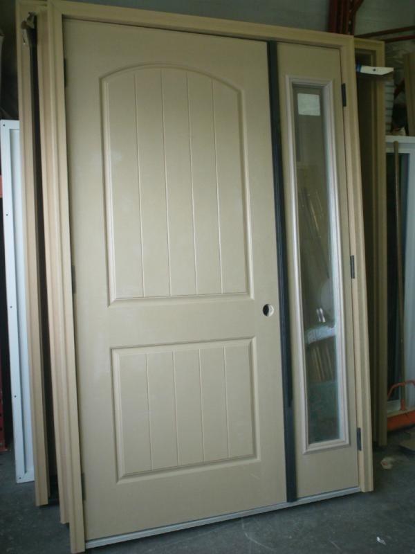 "36"" LHO 2x6 Double Entry Door/Sidelight System   2 Panel Plank Fiberglass    w/ Anodized Bronze Astragal   c/w 864 Clear 1 Lite Sidelight   Mahogany Grain Composite Jamb & Brick Molding"