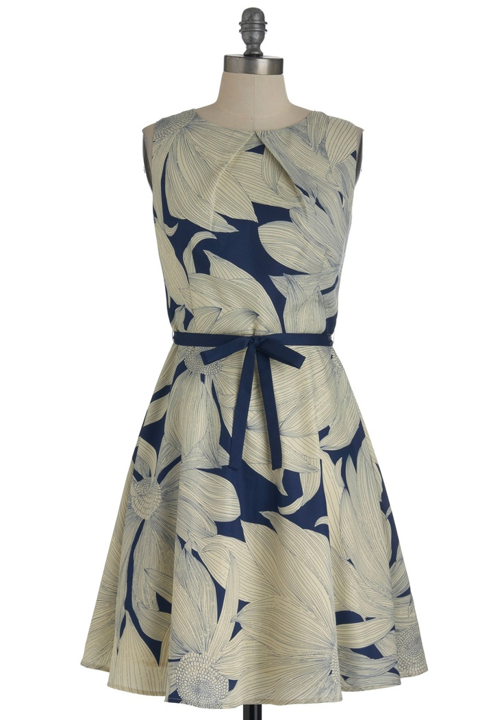 Sketch-booked a Show Dress - Floral, A-line, Sleeveless, Mid-length, Cream, Blue, Bows, Party $94.99