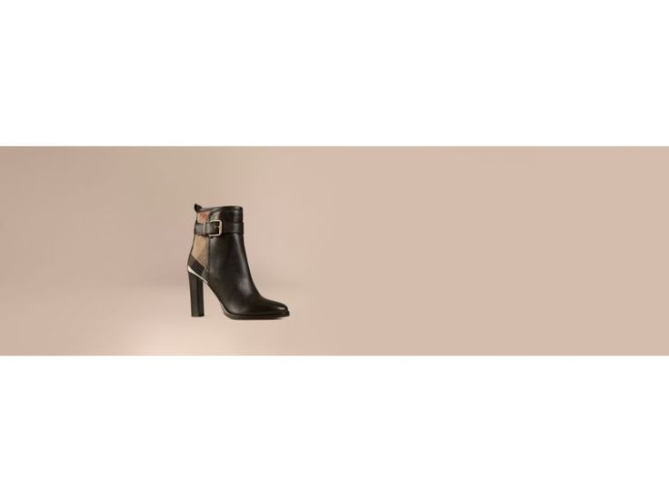 BURBERRY キャンバスチェック&レザー・アンクルブーツ. #burberry #shoes #