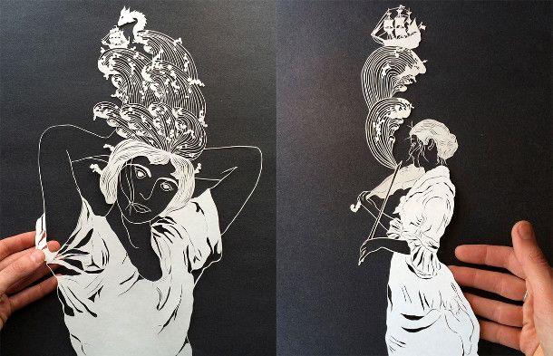 gesneden-papieren-illustraties-2. Papierkunstenaar Maude White snijdt nauwgezette afbeeldingen uit van mensen, bladeren, vogels en andere dieren. In haar composities vind je, als je goed kijkt verborgen scènes en verhalen. Duizenden kleine sneden resulteren in deze prachtige papieren illustraties. Ontdek meer bijzondere papier projecten op EYEspired.