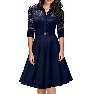 Women's Shirt Collar Lace Stitching Hollow Mid-sleeve Skater Dress 2016 – €22.53