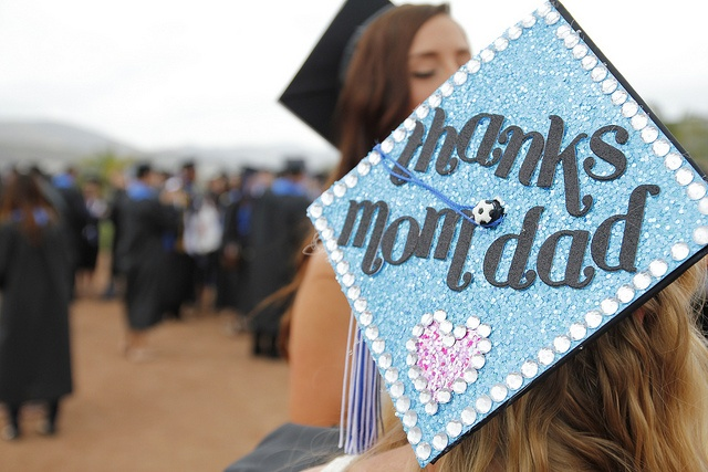 """Thanks Mom & Dad"" Decorated mortar board/graduation cap - Cal State San Marcos CSUSM13 