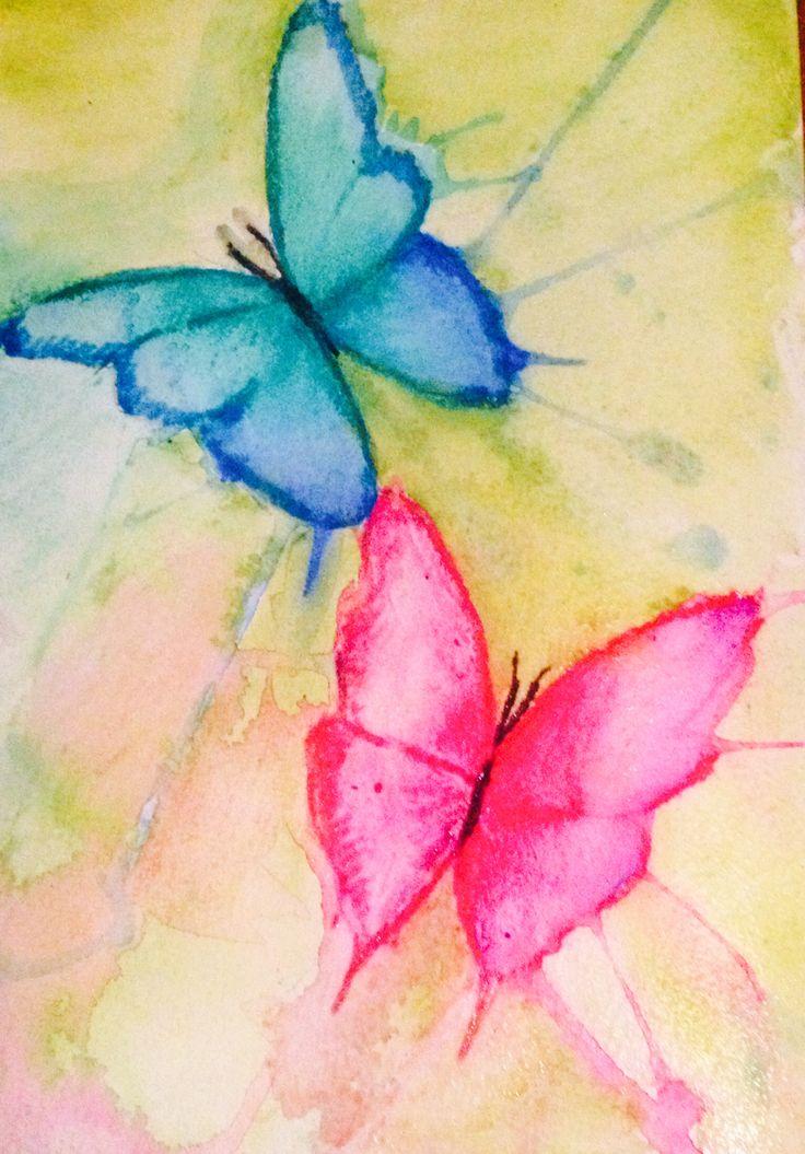 Butterfly fly away, watercolour, by Rachel Oxborough