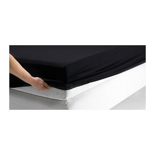 """Black Fitted Sheet - (DVALA Fitted sheet IKEA Fits mattresses with a thickness up to 10"""" since the fitted sheet has elastic edging.)"""
