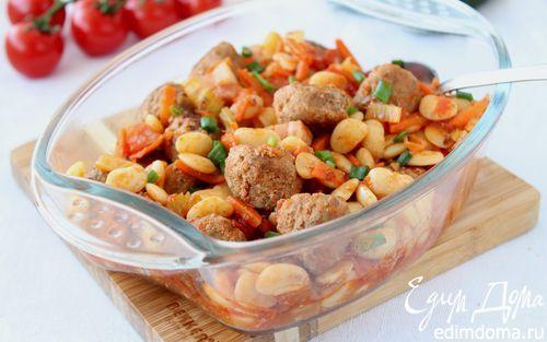 Фрикадельки с фасолью и овощами   Кулинарные рецепты от «Едим дома!»