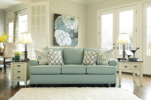 Seafoam Daystar Queen Sofa Sleeper (We already have a sectional that we're not sure if we want upstairs or downstairs just yet and we want the extra sofa to be a sleeper-- which this one happens to be) or something similar. Love the colors and patterns in this room as well.