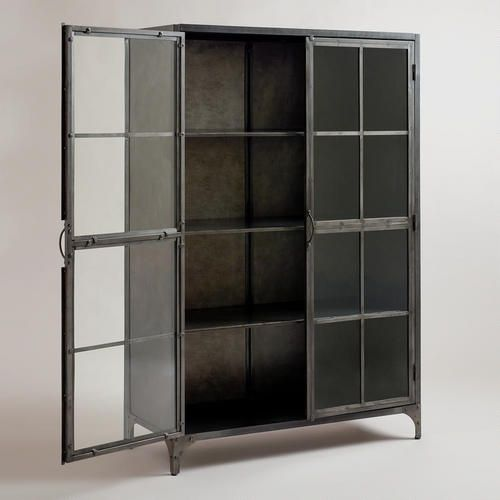 From World Market, Metal Display Cabinet, for dining room or living room.  Metal is a less bulky, interesting look.