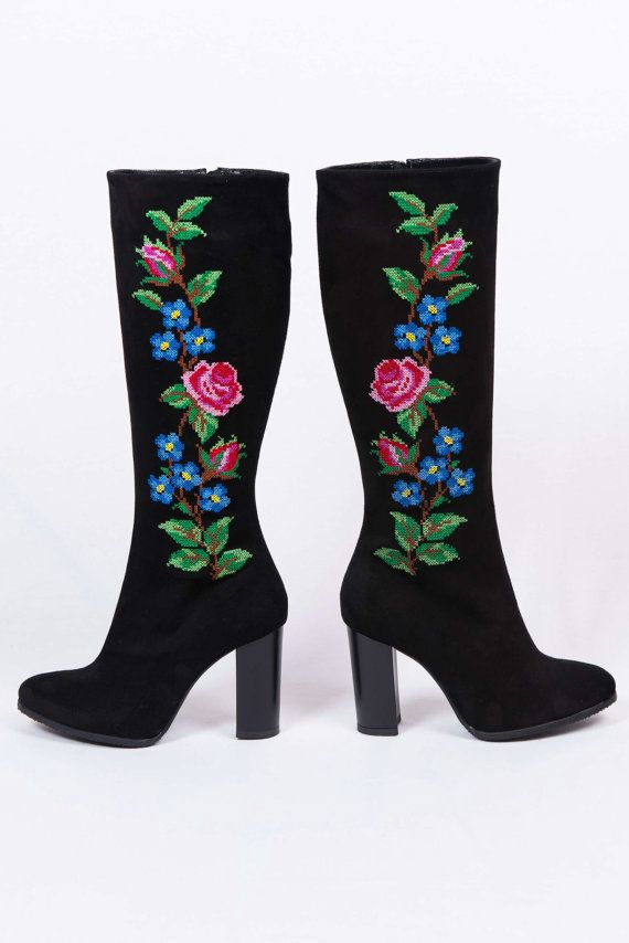 NEW High Hells Black Suede Flower Embroidery by VictorianBoots