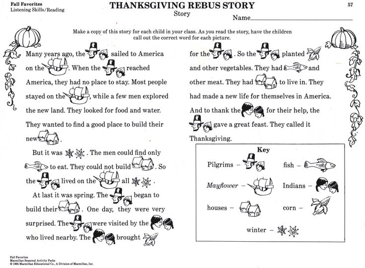 Thanksgiving Rebus story. Simple explanation of Thanksgiving. Copy to a word doc and print