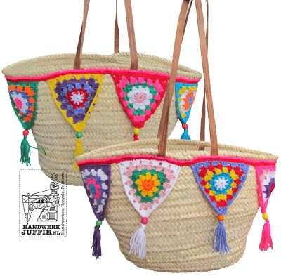 IBIZA bag with crochet bunti flags!! with tutorial!! what a great idea to dress up a simple bag!!!  ☀CQ #crochet #crafts #DIY.