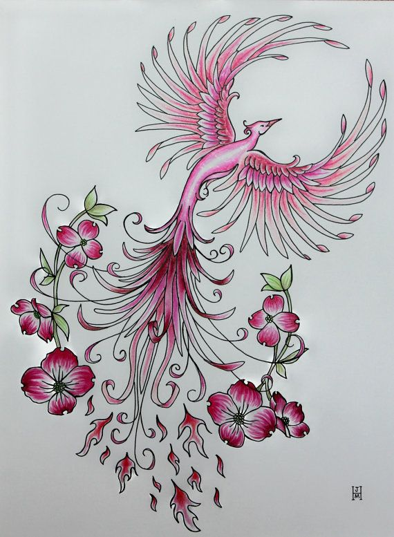 Pink Dogwood Phoenix Rising Original Art by jennifermckayhiggins