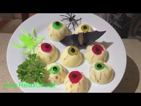 Блюда на Хэллоуин Глаза Зомби - YouTube