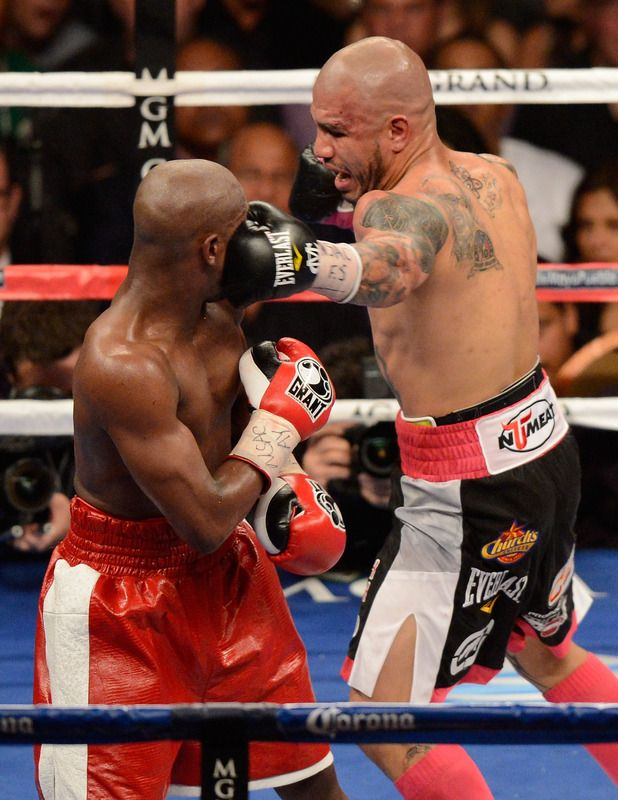 Miguel Cotto vs Floyd Mayweather. Mayweather won.