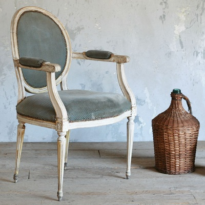One of a Kind Vintage Armchair Louis XVI Cream Patina