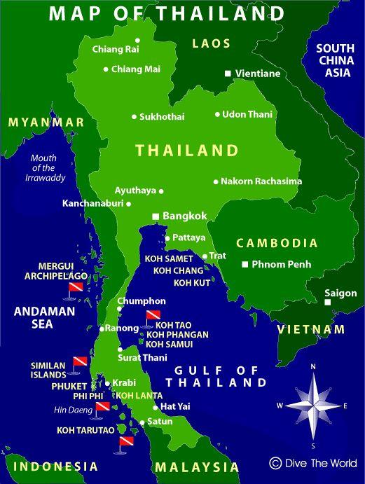 Mapa de Tailandia: Bangkok, Phuket, Pattaya, Krabi, Koh Samui - Dive The World