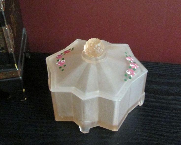 SATIN GLASS PINK DEPRESSION GEOMETRIC LOTUS ROSE VANITY POWDER JAR BOX! ART DECO