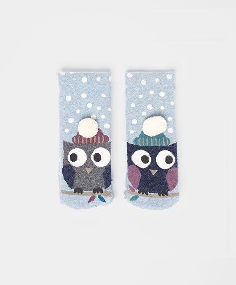 Owl socks with pompom trim - OYSHO