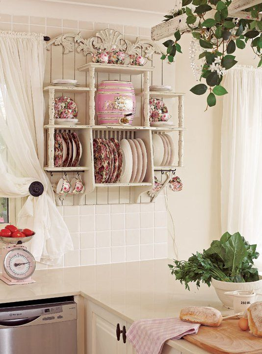 PLATE RACK with slats in back and bottome of shelf.