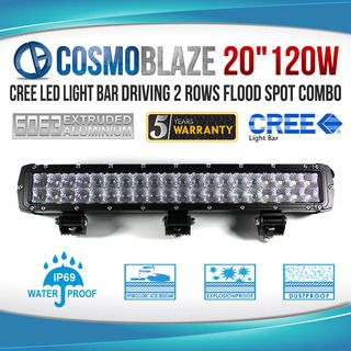 "Cosmoblaze 20"" 120W CREE LED Light Bar Driving WORK FLOOD SPOT COMBO 4WD 6063 AL"
