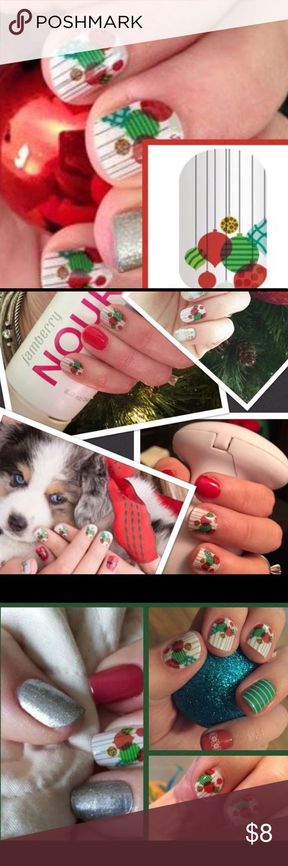 Jamberry nail wrap seasons bright Christmas Buy 6 or more 1/2 sheets and each sheet will be discounted to $5 each.  This is for a 1/2 sheet of the nail wrap features in the first picture. Additional pictures are to show u how they look mixed.  1/2 sheet purchases allow u to have more versatility in making bundles and get more designs on a budget.  Each 1/2 sheet gives 1 manicure 1 pedicure and 4-8 accent sheets. made in USA NON TOXIC VEGAN jamberry Makeup