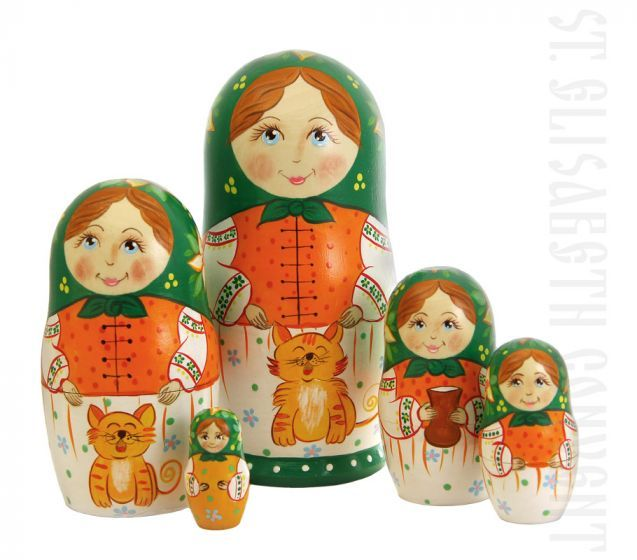 Family & Cat Nesting Doll Set of 5 $40.00, Catalog of St Elisabeth Convent. Made to order. #GiftIdea #gift #present #PresentandCharity #Charity #toy #kids #matryoshka #nestingdolls #handmade #woodentoys #ecotoys #craft #catalogofogooddeed #catalogofstelisabethconvent