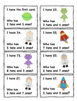 "Space Themed - Place Value ""I Have, Who Has?"" 32 cards (numbers 0-99)"