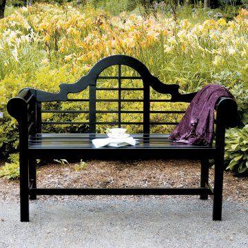 Achla Designs Black Lutyens Bench, $319.98 at http://www.hayneedle.com/sale/blacklutyensbench.cfm