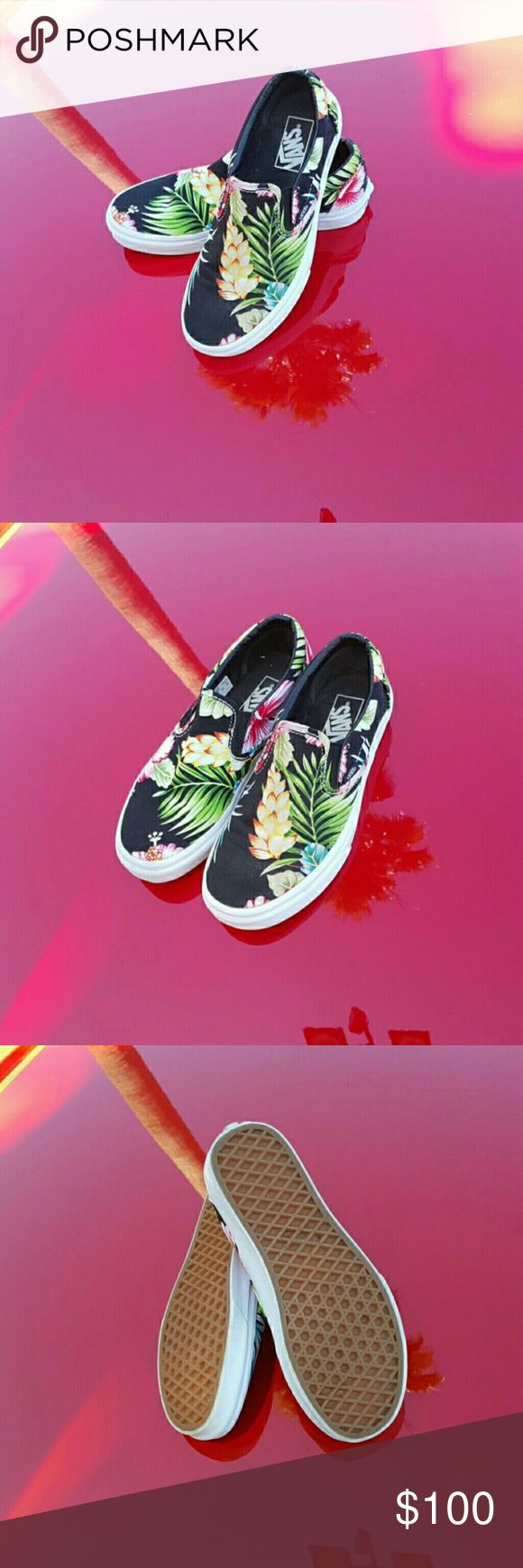 Tropical Vans Slip-On Shoes  Women's size 7.5, Men's size 6 Brand new condition! Black background with bright tropical pattern. No trades. Reasonable offers accepted! Vans Shoes Sneakers