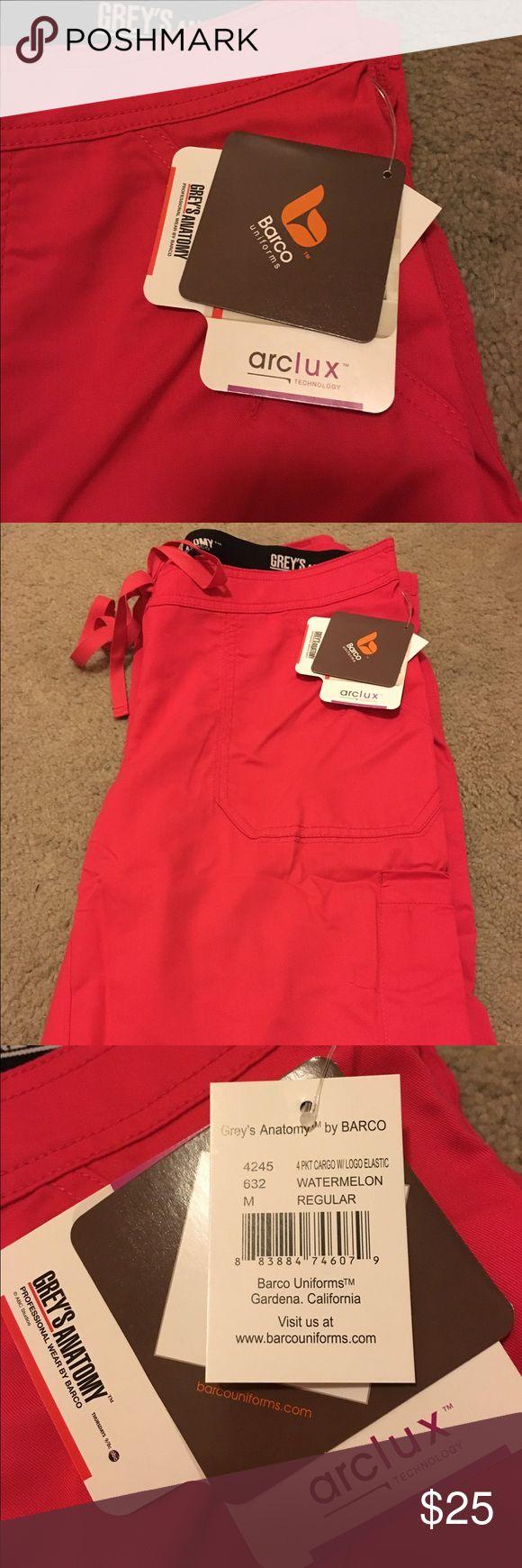 Barco: Grey's Anatomy 4 pocket cargo scrub pants Barco: Grey's Anatomy 4 pocket cargo scrub pants. Color: Watermelon. Size: Medium. NEVER BEEN WORN. Grey's Anatomy by Barco Pants