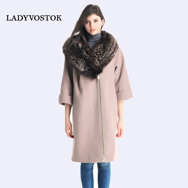 LADYVOSTOK Silver Fox Fur Collar Bat Sleeve Long Coat Loose Cashmere Overcoat Real Mink Fur Coat Women Plus Size R1965 US $142.56 To Buy Or See Another Product Click On This Link  http://goo.gl/yekAoR