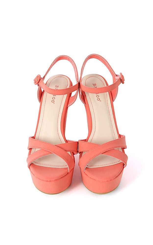 Bamboo Eliza-25 Nubuck Ankle Strap Wedges CORAL 7