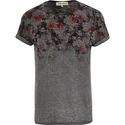 Dark grey floral yoke print t-shirt - print t-shirts - t-shirts / vests - men