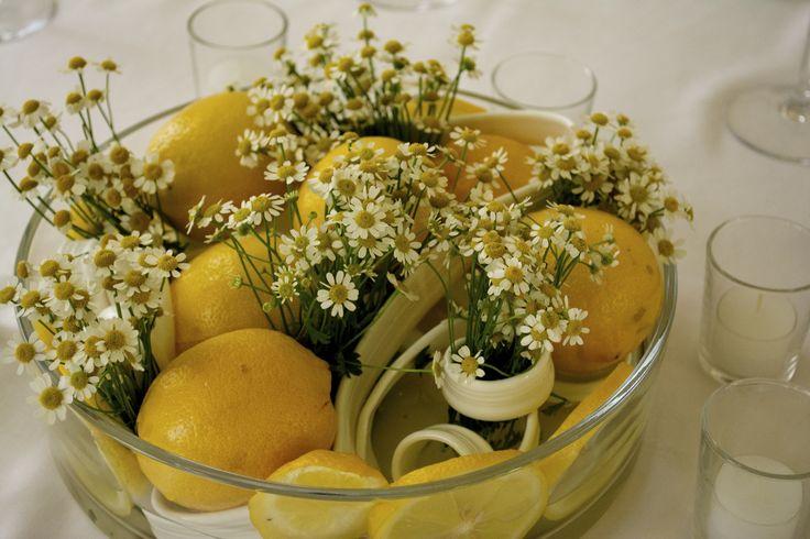 Centrotavola per matrimonio in giallo