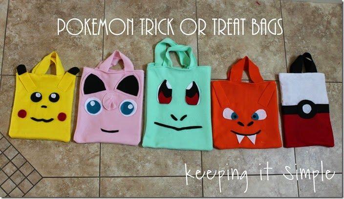 Diy pokemon trick or treat bags halloween pokemon for Pokemon crafts for kids