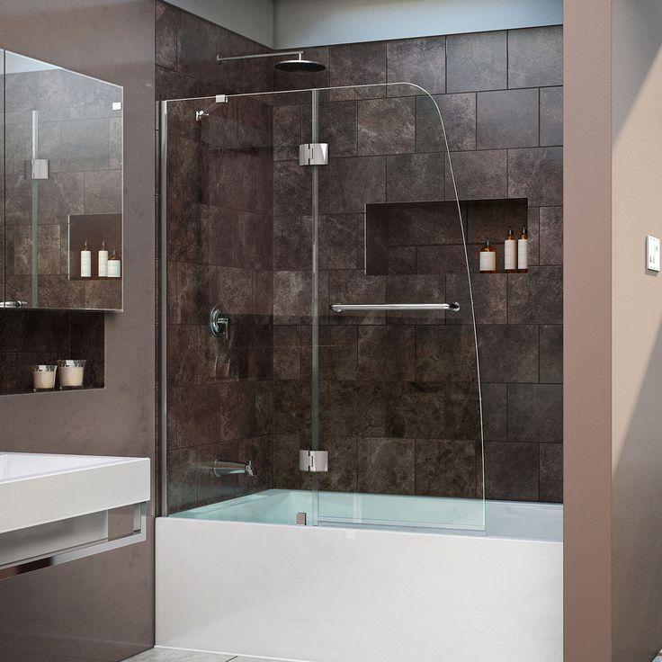 "DreamLine SHDR-3148586-01 Aqua 48"" Frameless Tub Door, Clear 1/4"" Glass, Chrome Finish - Mega Supply Store - 1"