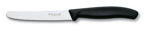 Victorinox Swiss Classic 4-1/2-Inch Utility Knife with Round Tip, Black Handle by Swiss Army Brands. $9.99. Dishwasher safe. Lifetime warranty. Made in switzerland by master cutlers. The choice of professionals, nsf (national sanitary foundation) approved. Ergonomic fibrox handles are slip resistant. Trusted by Professionals for Generations. Now Available for the Home Chef. Our Swiss Classic Collection incorporates a new contemporary, more ergonomic handle with our traditional c...