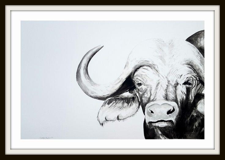 Black and white Buffalo 2 Artist Lorna Pauls  Done March 2017 Watercolor on half sheet Bockingford
