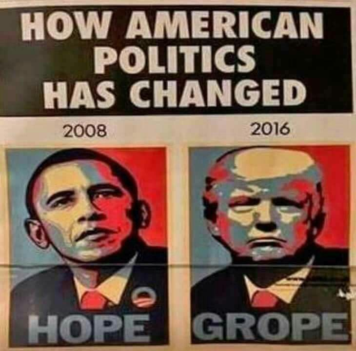 Good-bye hope; hello grope. Introducing YOUR new president, not mine: trump - The Tiny-Handed Groper and The Little Putin Puppet.