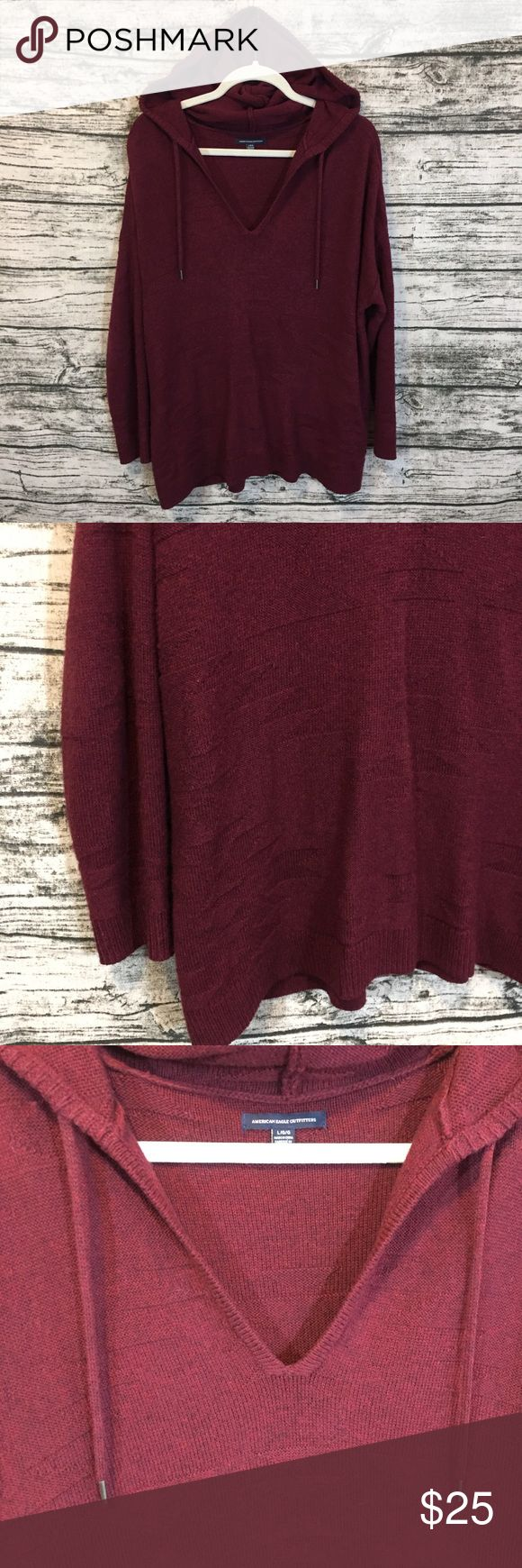 AEO burgundy jegging v-neck sweater hoodie L WORN ONCE ✨ Super soft and comfy 💕 No flaws, no trades, discount on bundles 🛍 American Eagle Outfitters Sweaters V-Necks #americaneagleoutfitters
