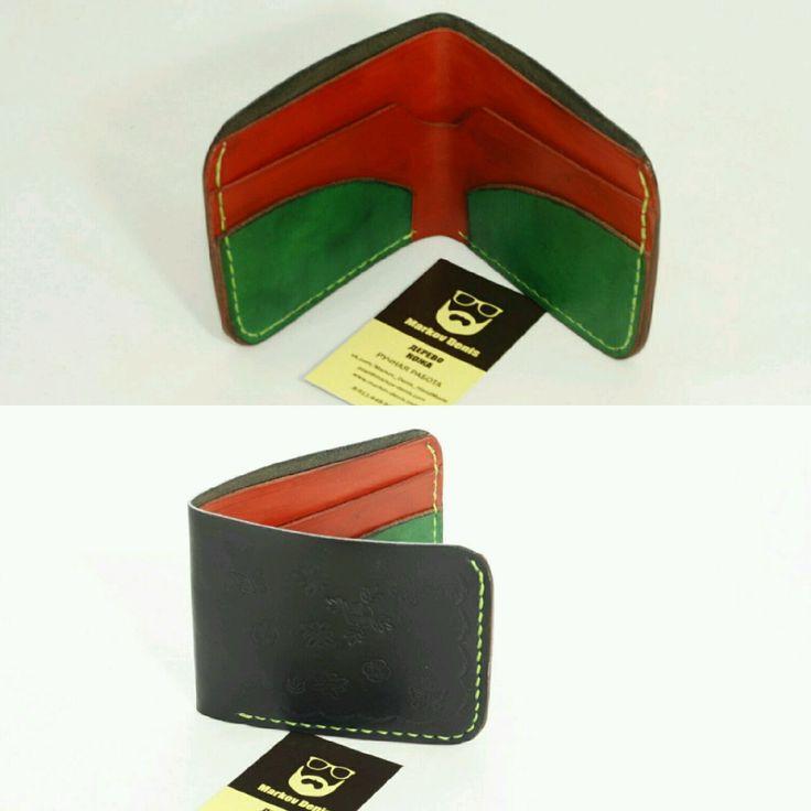 Купить Кожаный кошелёк - натуральная кожа, итальянская кожа, ручная работа, тиснение, окраска кожи