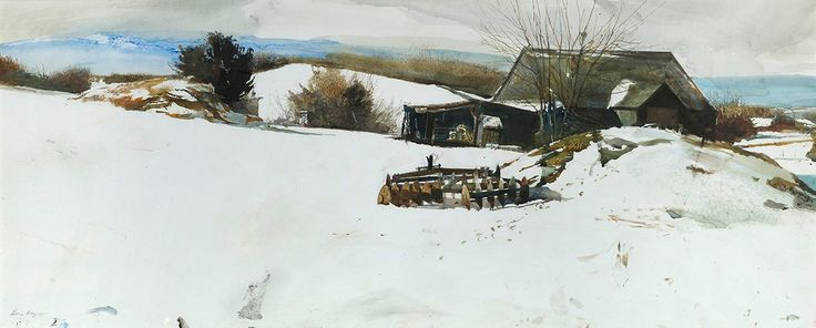 Andrew Wyeth (1917— 2009, USA)  Disk Harrow. 1996 watercolor and pencil on paper.  7.9 x 42 in. (45.5 x 106.7 cm.)