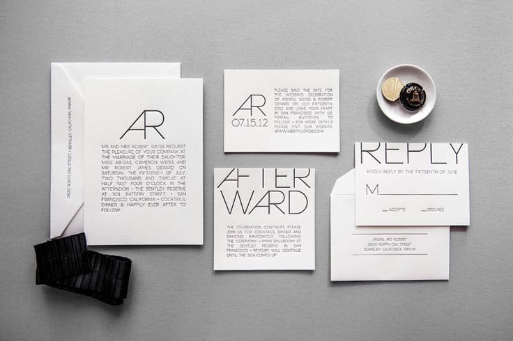 15 Super Chic Minimalist Wedding Invites via Brit + Co